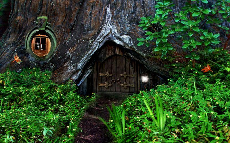 hobbit fantasy forest trees house home wallpaper