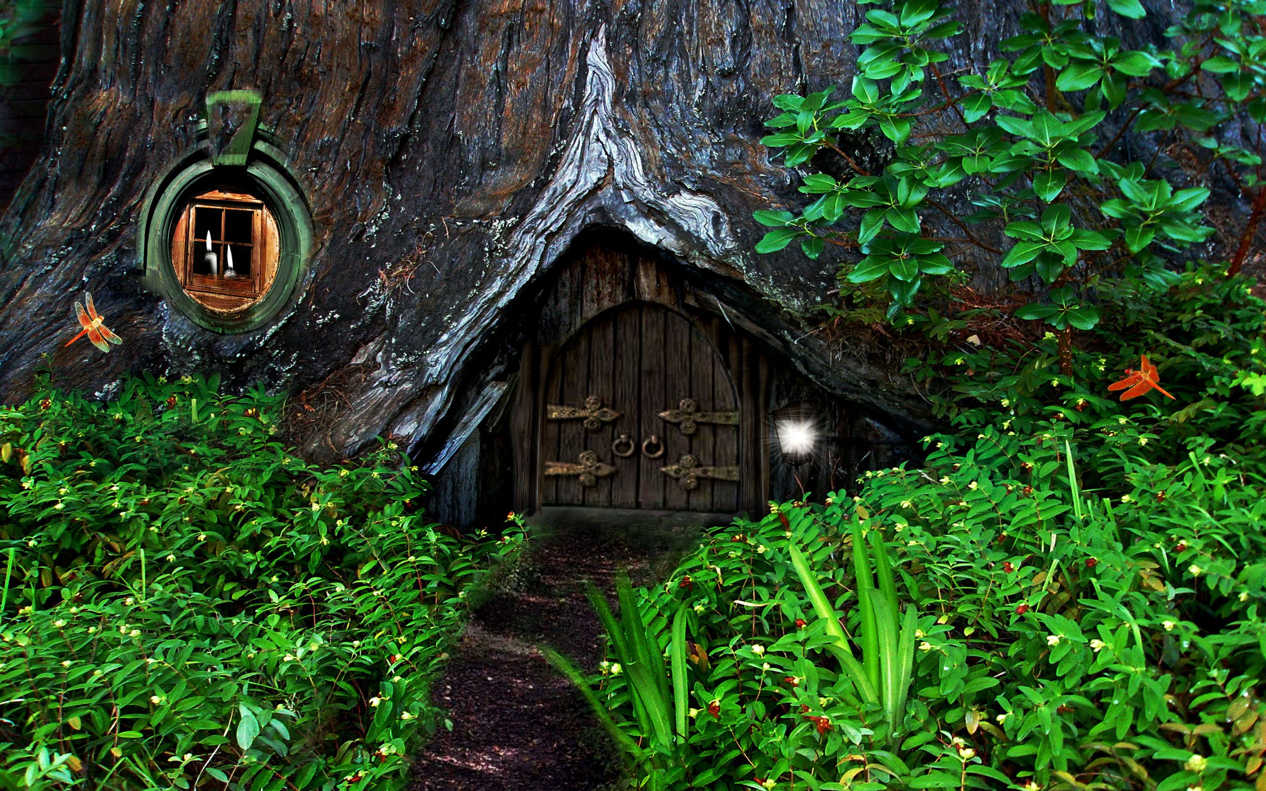 Hobbit fantasy forest trees house home wallpaper for Tree wallpaper for home