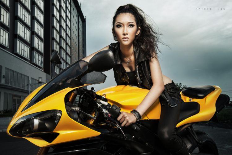 Kelly Khoa Nguyen asian bike motorcycles asian girl girls wallpaper
