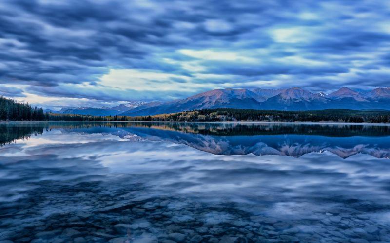 lake landscape reflection mountains sky wallpaper
