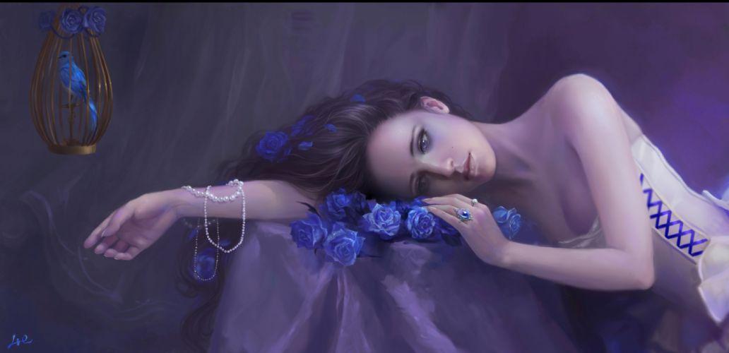 Lijiu girl flowers roses cage bird beads gothic mood girls women wallpaper