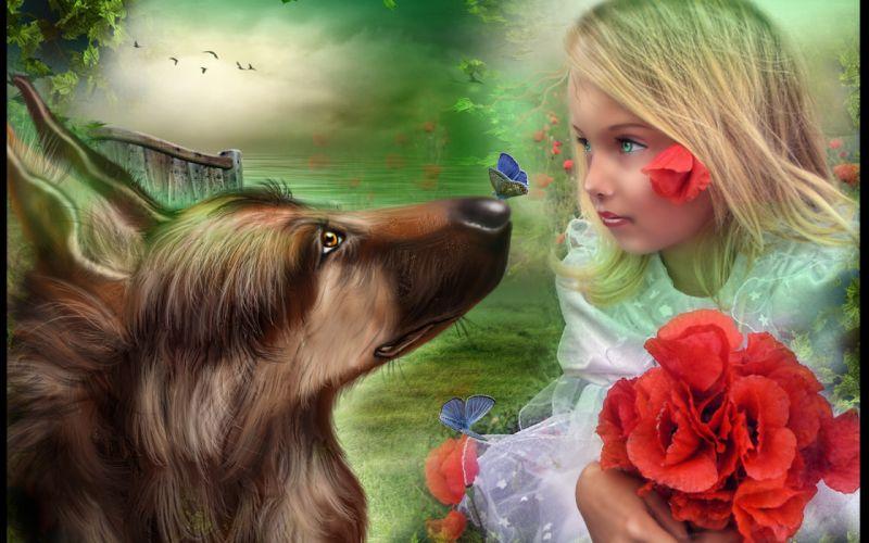mood flowers flower children child dogs dog girl girls wallpaper