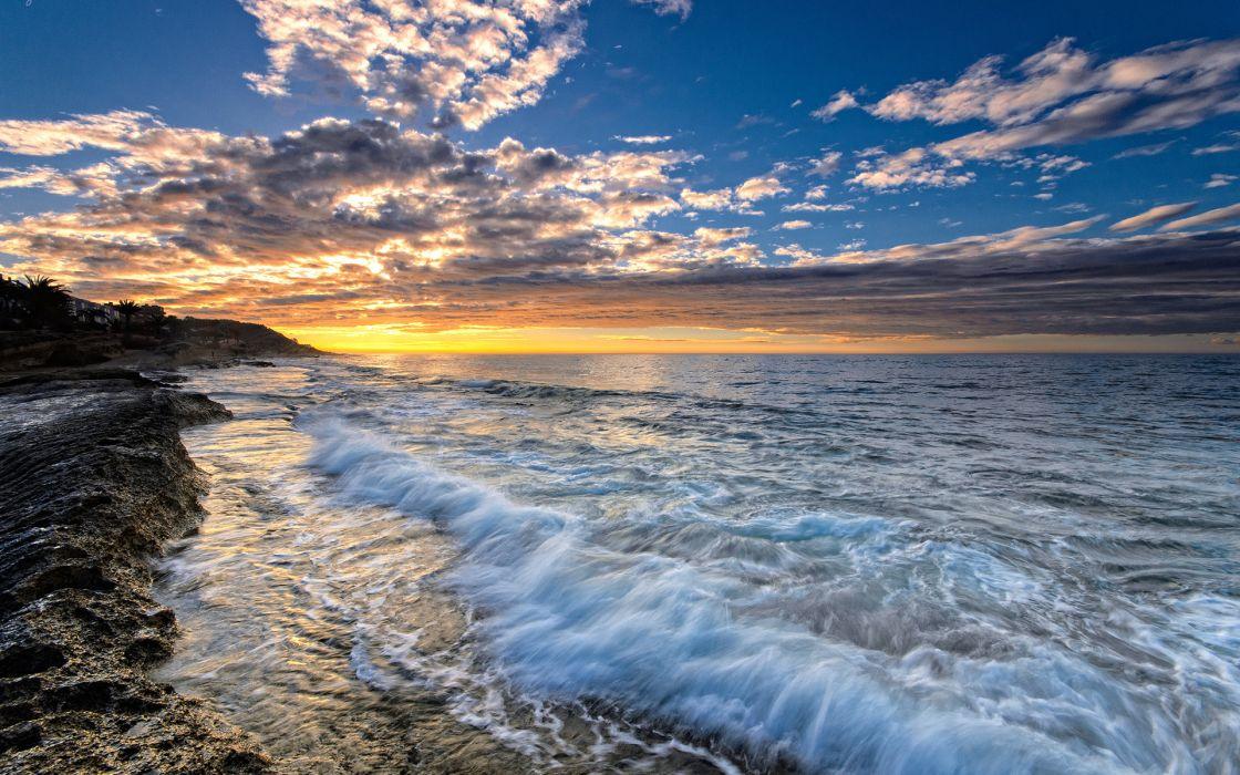 ocean sea beach sunset waves  f wallpaper