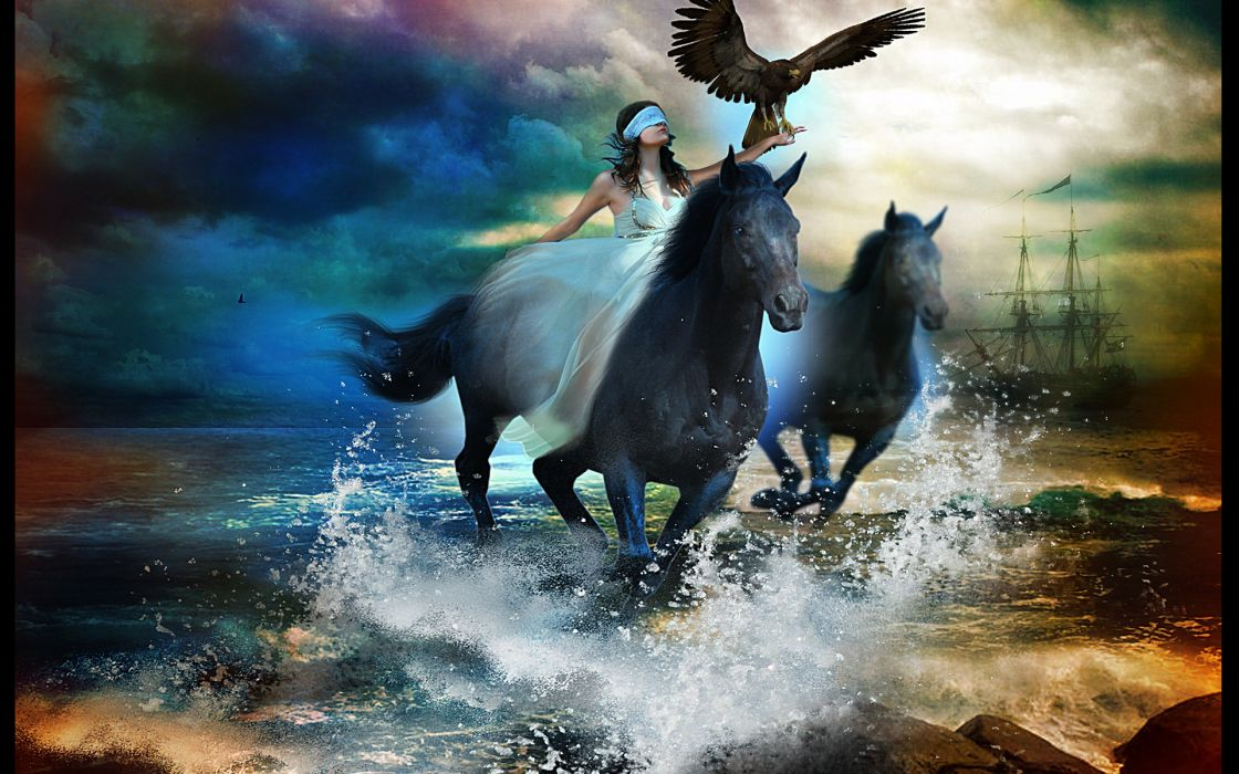 ocean sea waves drops beach horse horses women girl girls ship ships wallpaper