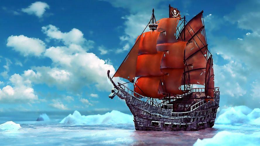pirate ship ice snow ship ships boat boats pirates ocean sea fantasy wallpaper