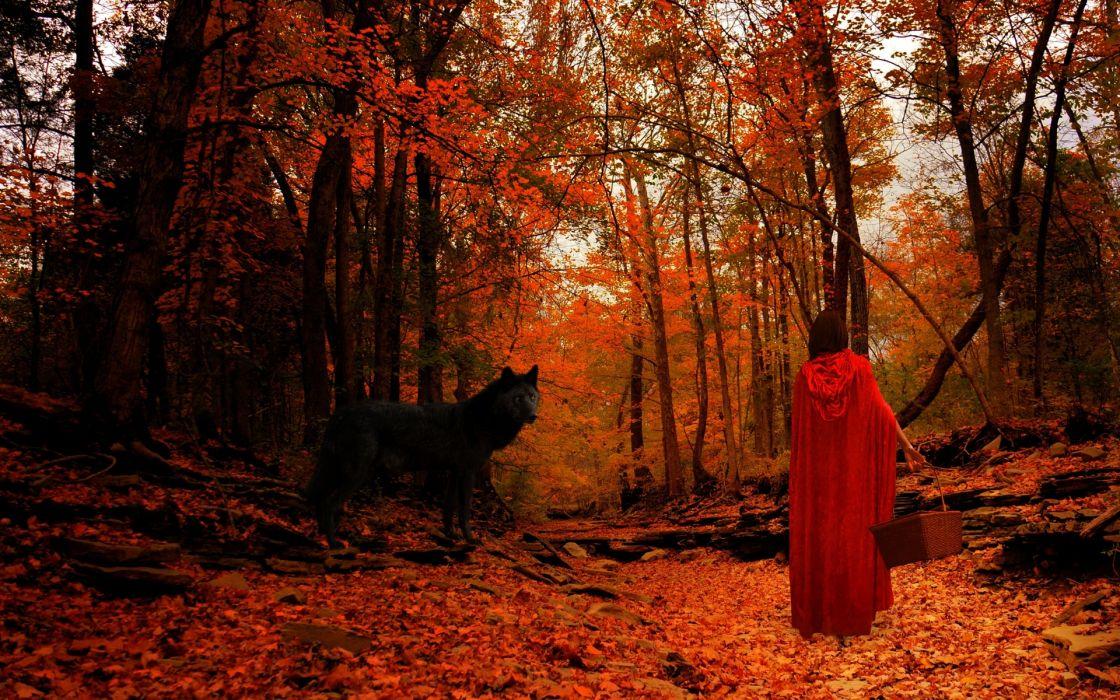 red riding hood wolf wolves trees forest mood autumn girl girls women wallpaper