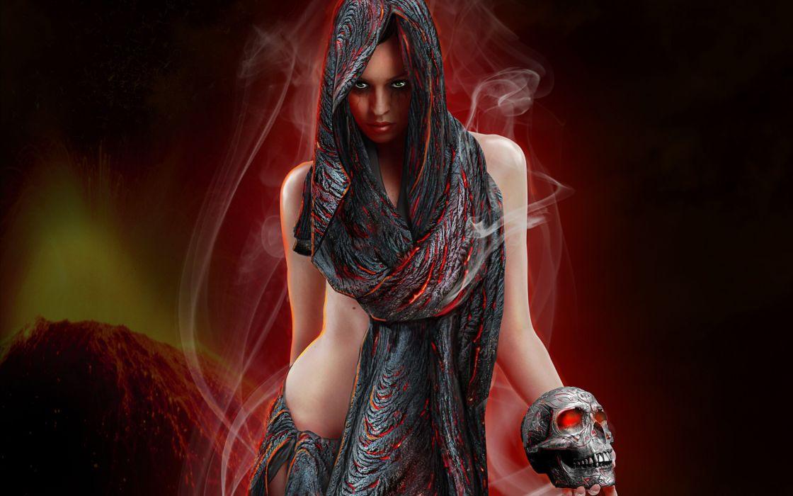 skull skulls dark girl girls women wallpaper