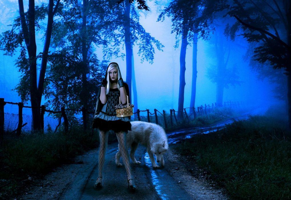 wolf night fantasy mood girl girls women wolves road forest gothic wallpaper