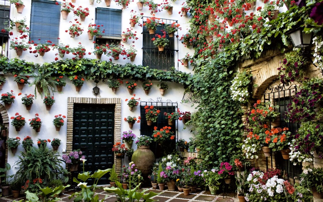 Andalusia Spain Cordoba Spain patio building house bokeh wallpaper
