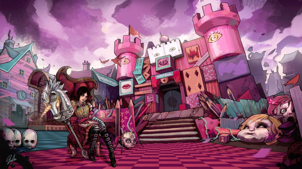 Alice Madness Returns Pink Castle Drawing Wallpaper