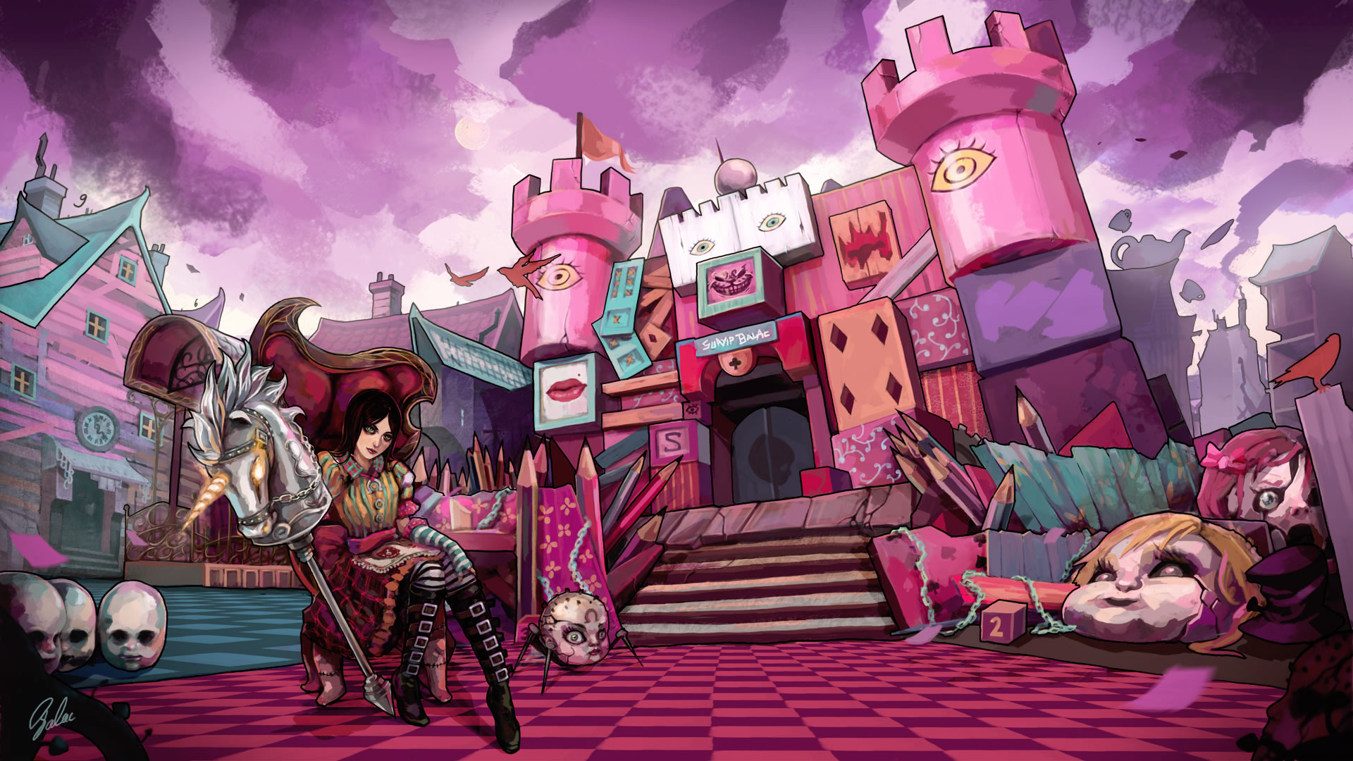 Alice madness returns pink castle drawing wallpaper for Www the house com returns