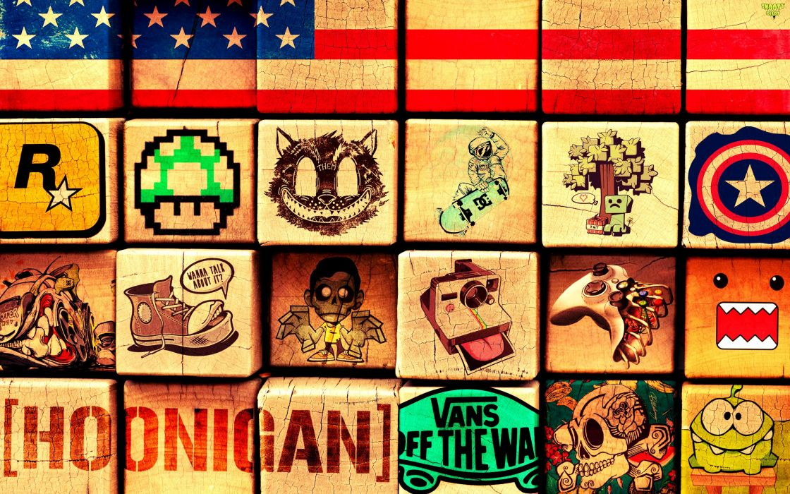 American Flag Flag Blocks Square Cube Rockstar Games Mario Mushroom Skateboarding Minecraft Captain America Shoe Camera Instagram Controller XBOX Domo-Kun Hoonigan Vans Skull Cut the Rope wallpaper