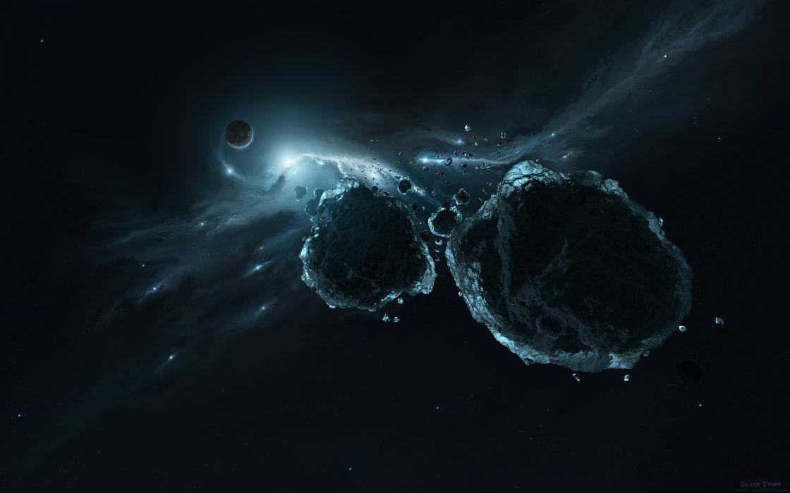 Asteroid Debris Starlight Stars Planet Rock Stone stars wallpaper