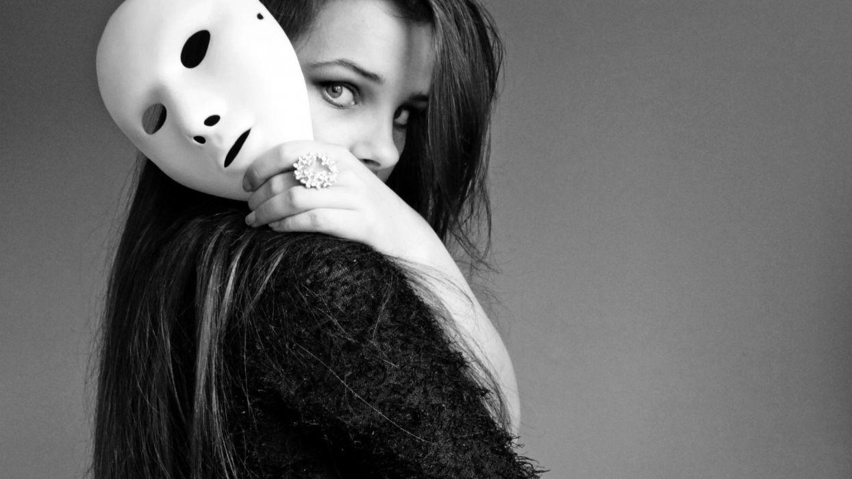 Brunette Mask B-W mood girl girls women wallpaper