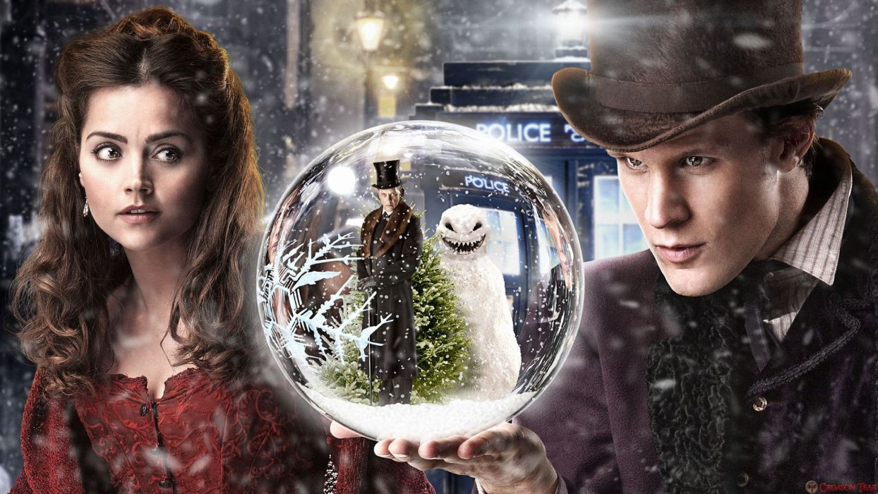 Doctor Who Snowball Snow Winter Tardis Jenna-Louise Coleman Matt Smith wallpaper