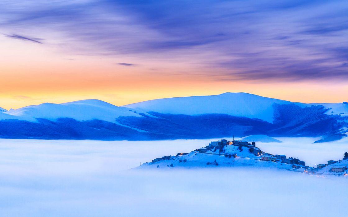 Fog Mist Landscape Blue Buildings wallpaper