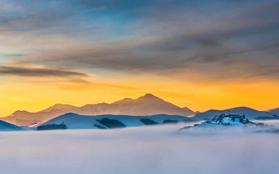 Fog Mist Landscape Mountains Sunset wallpaper