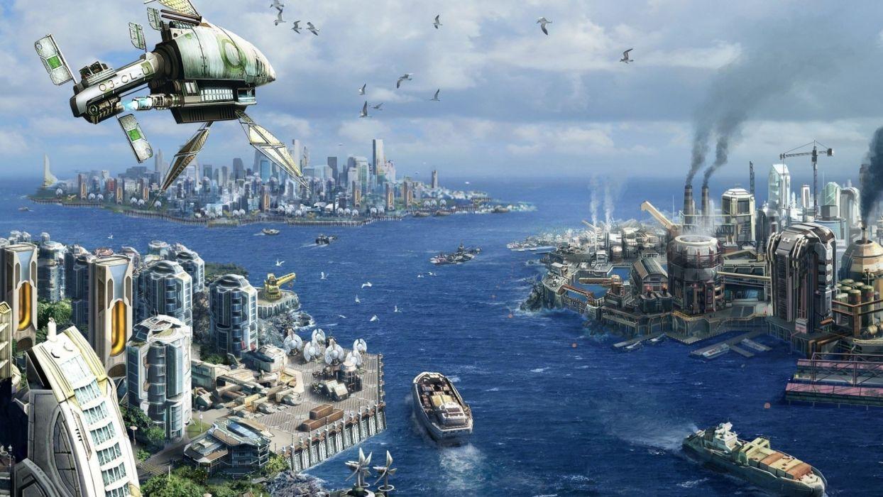 futuristic city spaceship cities sci-fi wallpaper