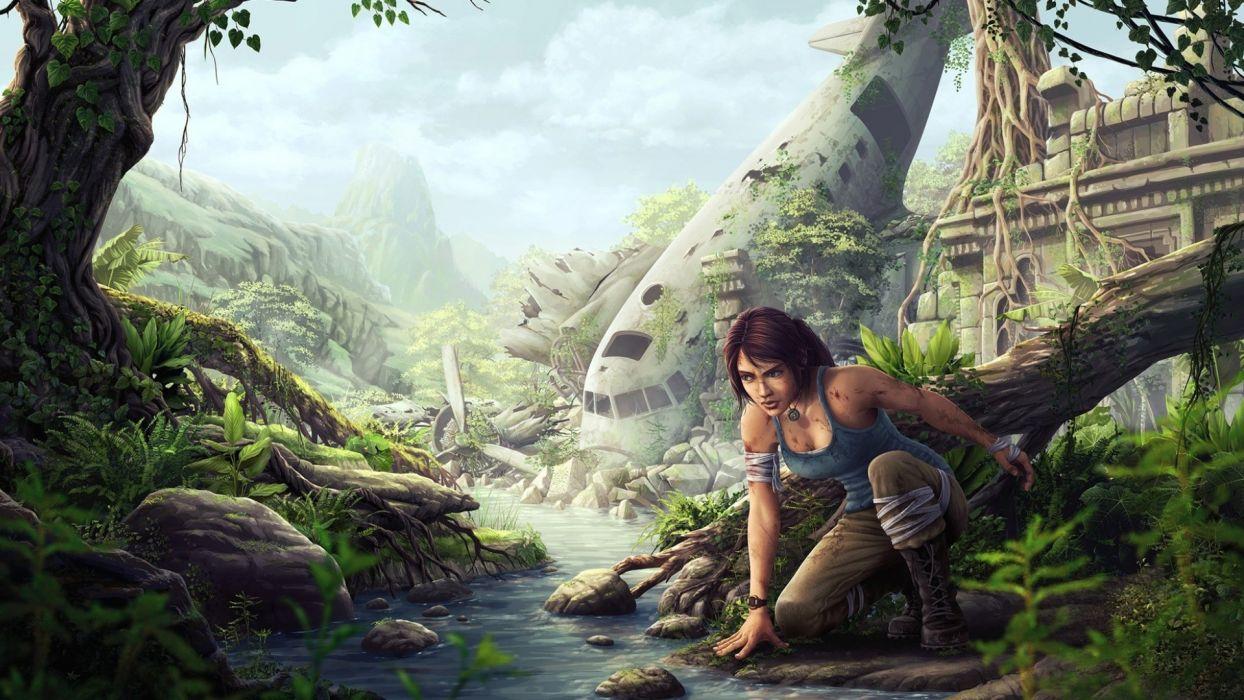 Lara Croft Tomb Raider Drawing Airplane Plane Jungle Overgrowth wallpaper