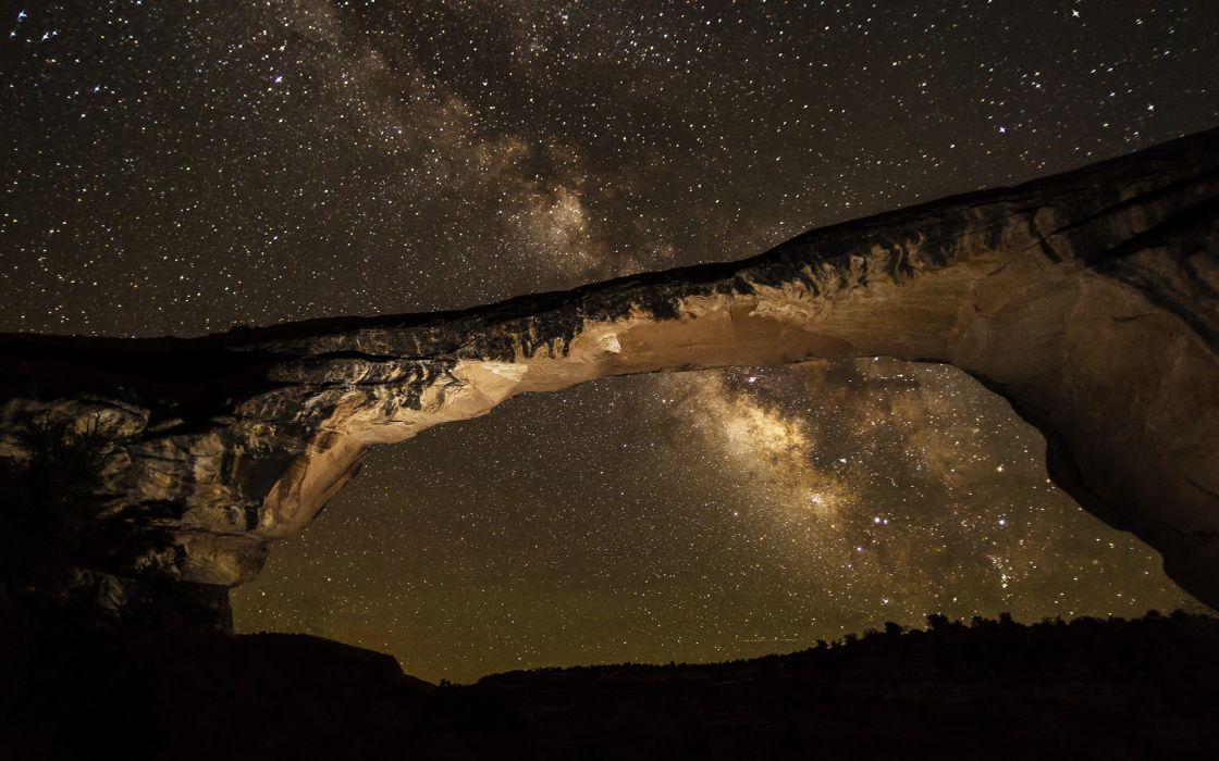 Milky Way Galaxy Stars Arch Night Rock Stone sky space wallpaper