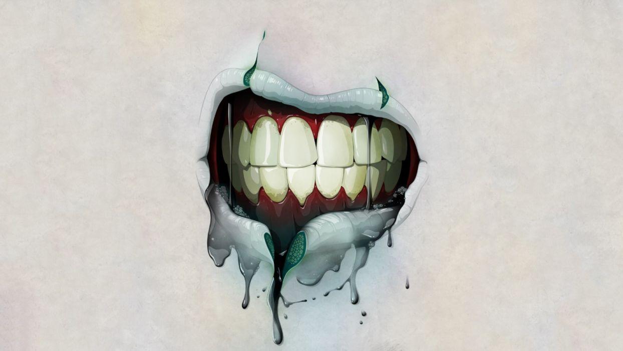 Mouth Creepy Zombie Teeth wallpaper
