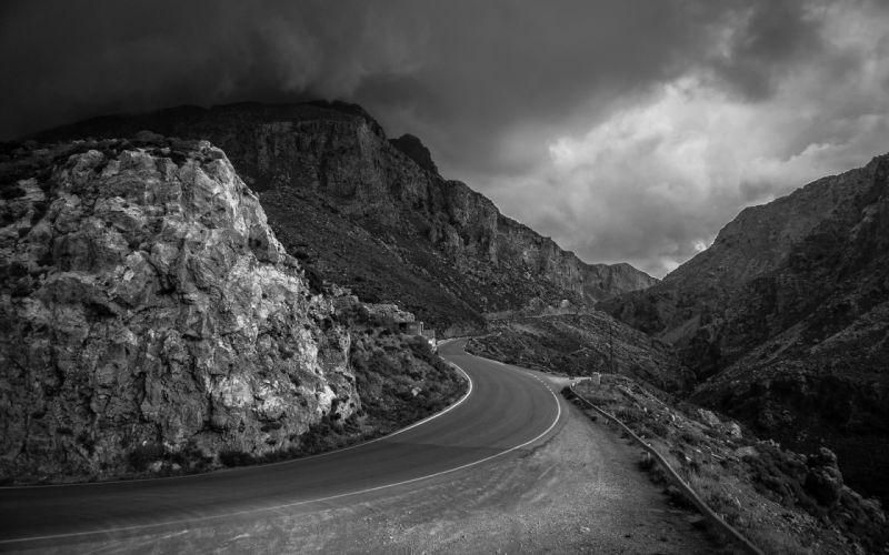 Road Mountains Landscape B-W roads wallpaper