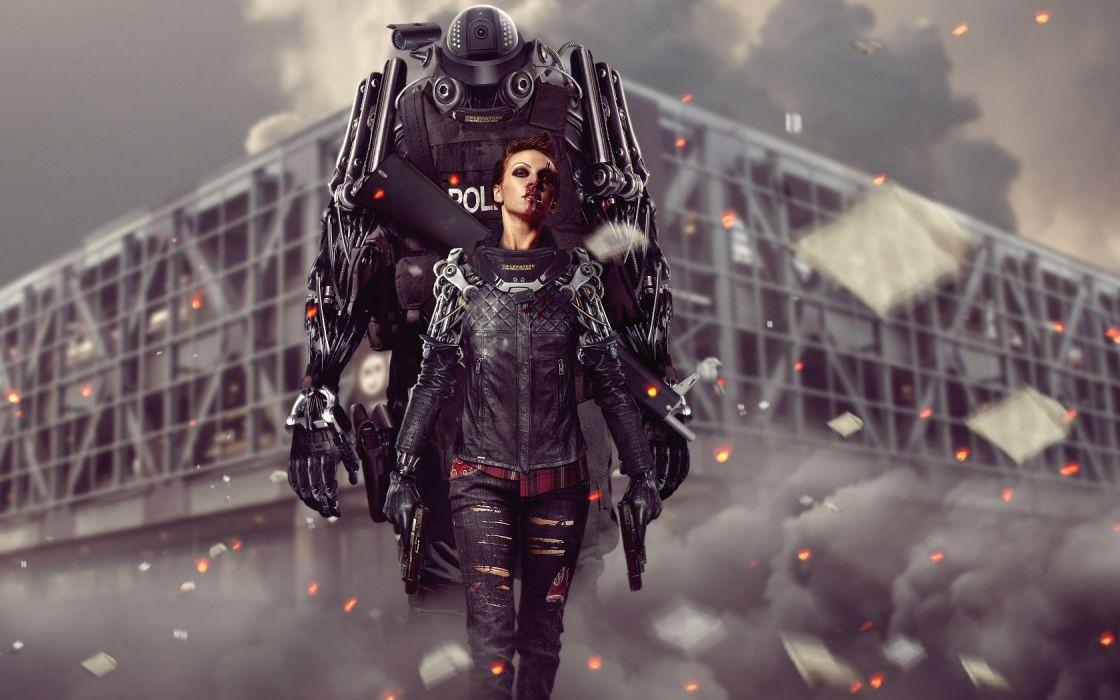 Robot Cyborg Blood wallpaper