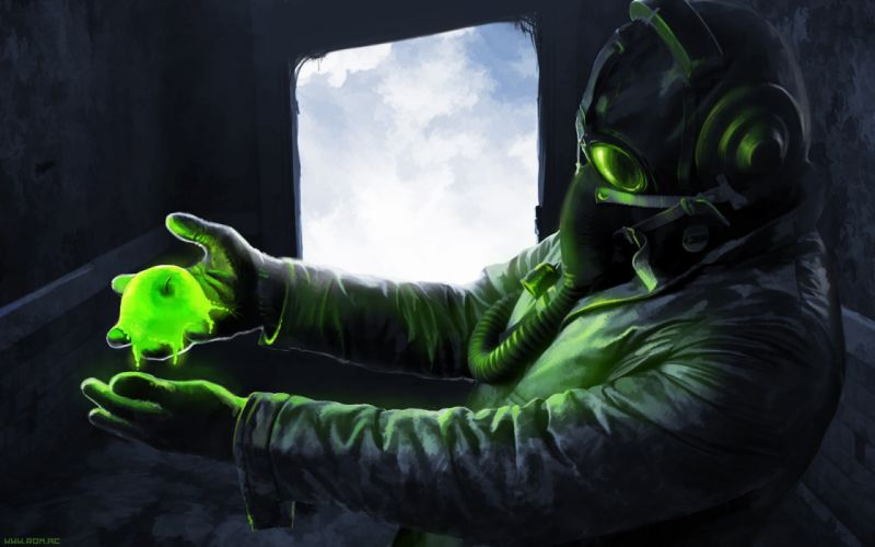 Romantically Apocalyptic Drawing Gas Mask Apple Radioactive sci-fi comics wallpaper