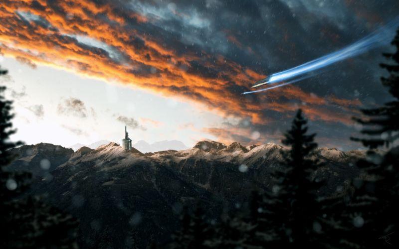 Snow Winter Clouds Spaceship Mountains wallpaper