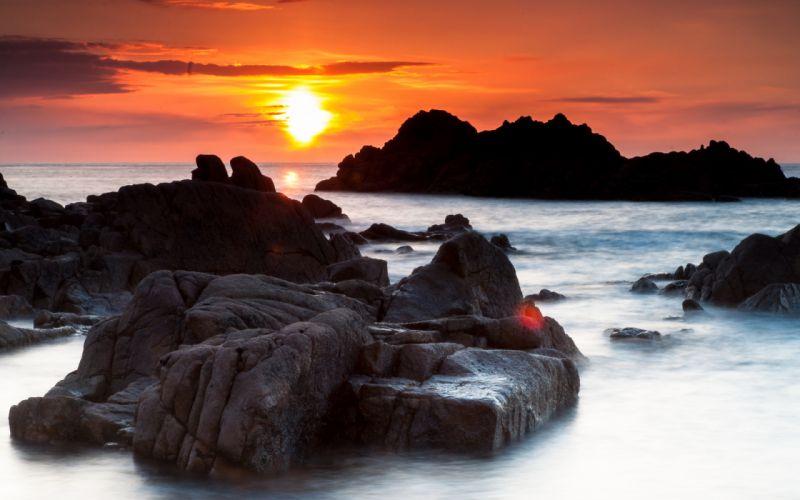 Sunlight Sunset Ocean Rocks Stones wallpaper