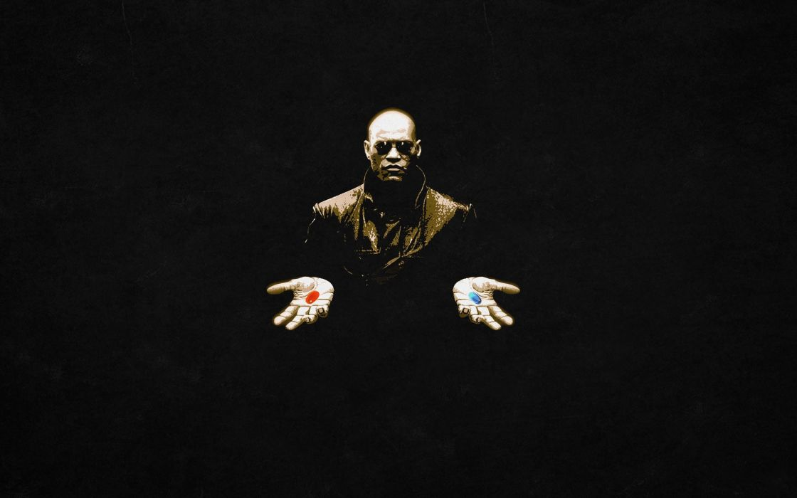 The Matrix Morpheus Pills movie movies sci-fi wallpaper