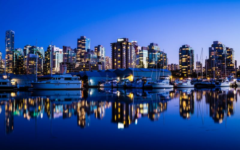 vancouver canada reflection boat boats wallpaper