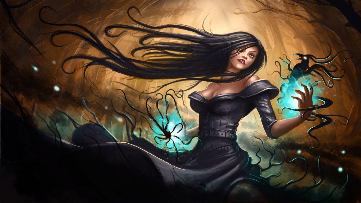 Magic Brunette girl Hair Fantasy Girls wallpaper