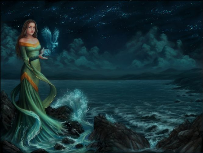 SIRENIA gothic metal heavy fantasy ocean sea mood women girl girls wallpaper