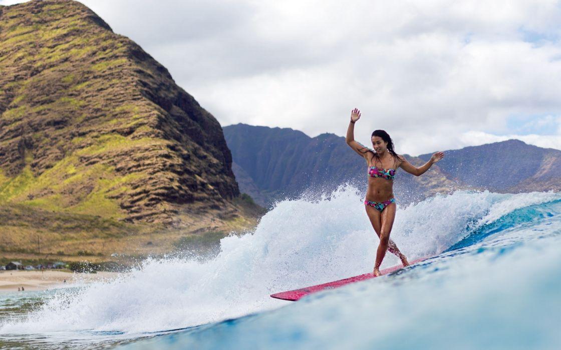 ocean girl surfing mountain waves sea girls women wallpaper