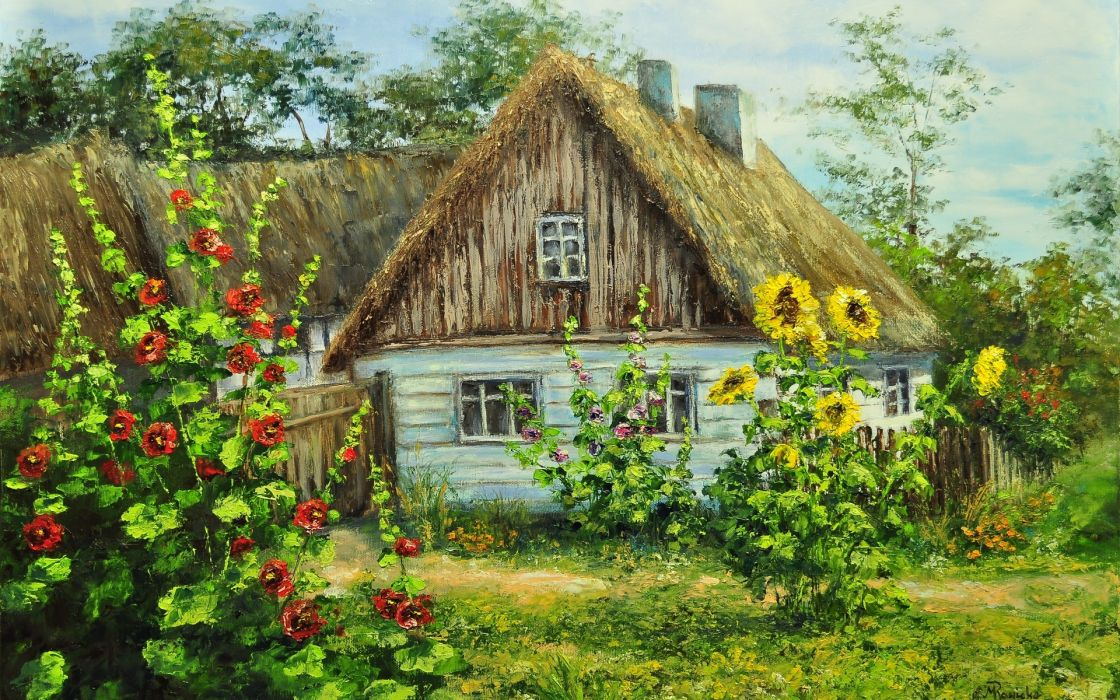house summer flowers greenery painting paintings sunflower sunflowers flower wallpaper