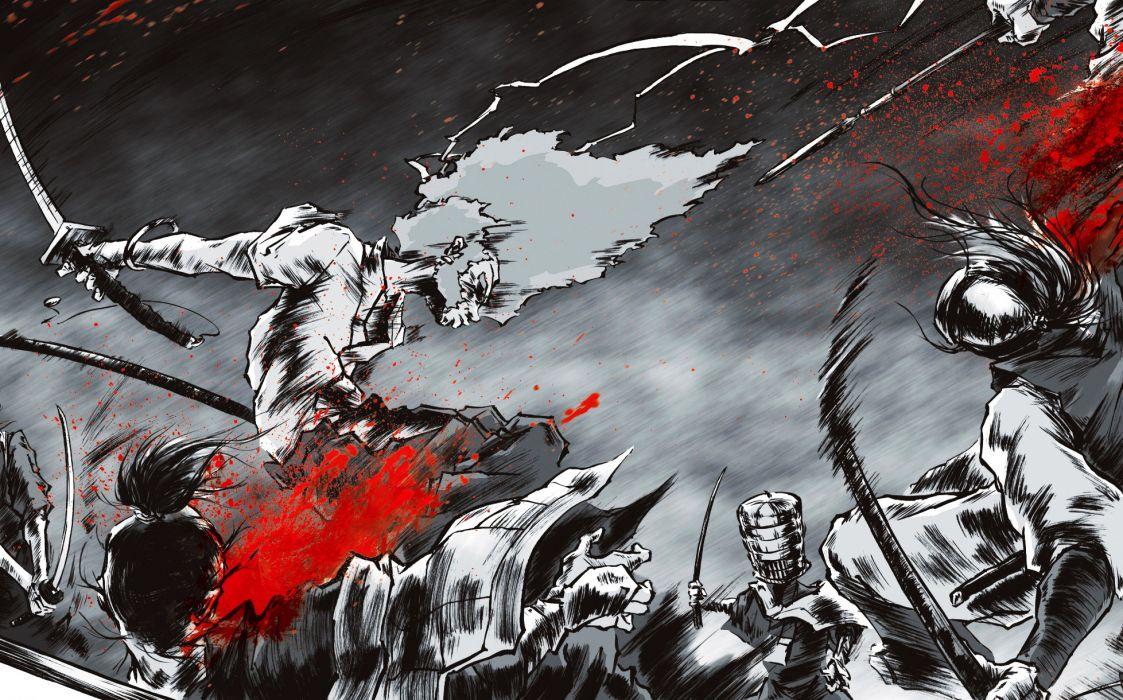 Afro Samurai anime game blood wallpaper