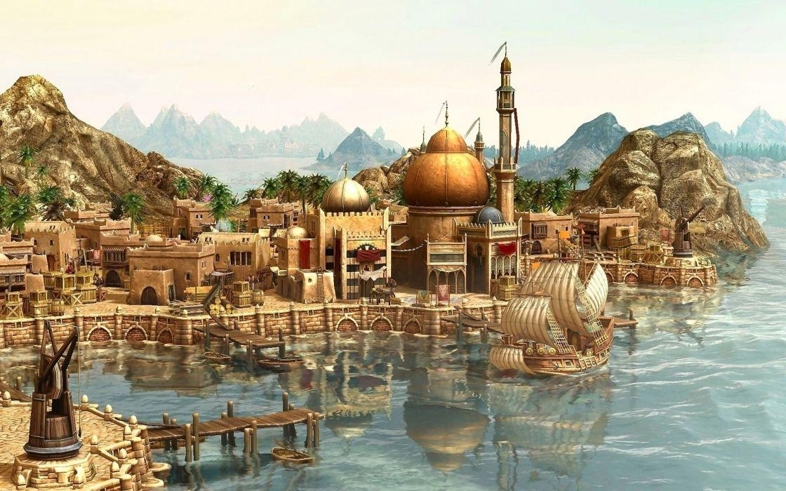 video games harbour Anno 1404 sea wallpaper