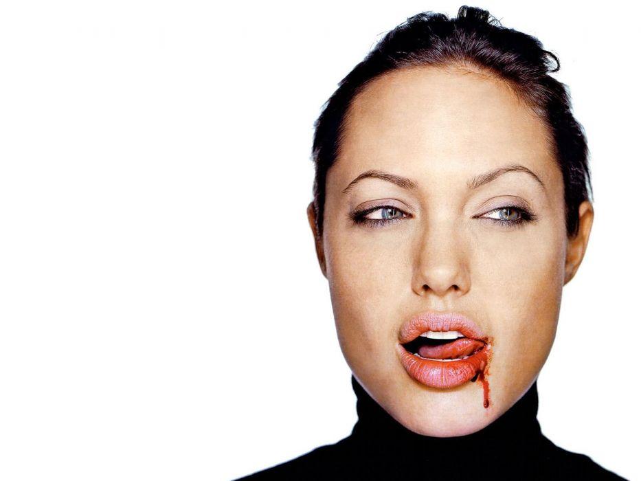 Angelina Jolie actress brunette girl girls women female females blood vampire vampires dark wallpaper