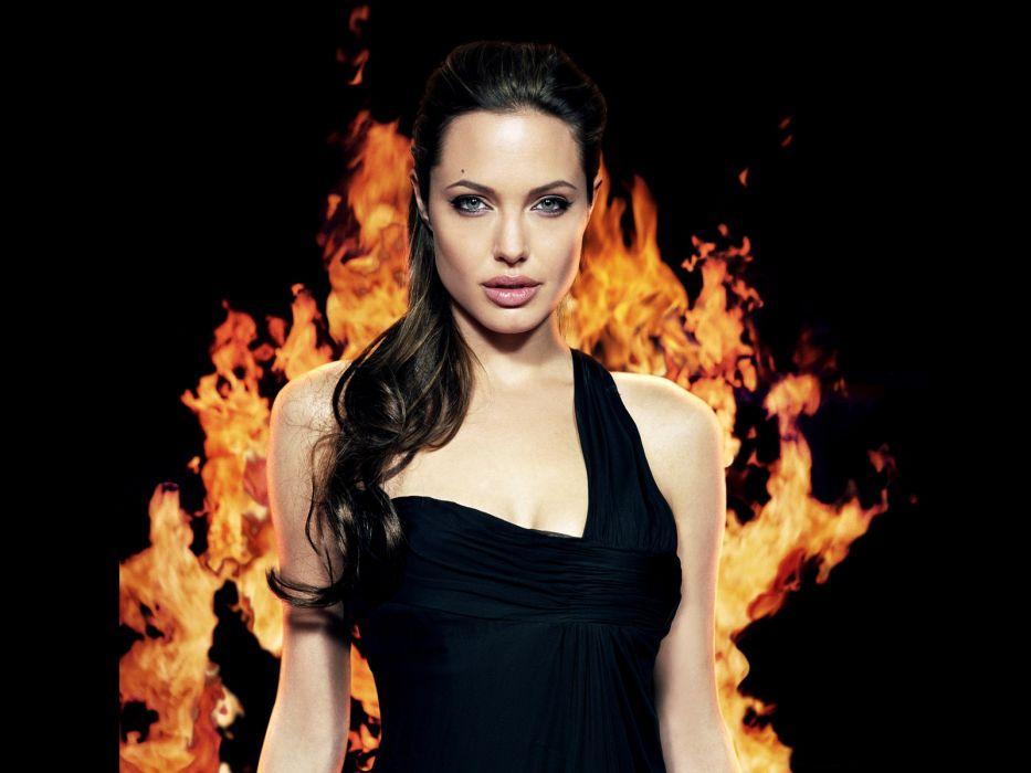 Angelina Jolie actress brunette girl girls women female females fire wallpaper