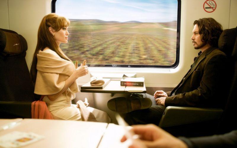 Angelina Jolie actress brunette girl girls women female females tourist johnny depp movies trains railroad train wallpaper