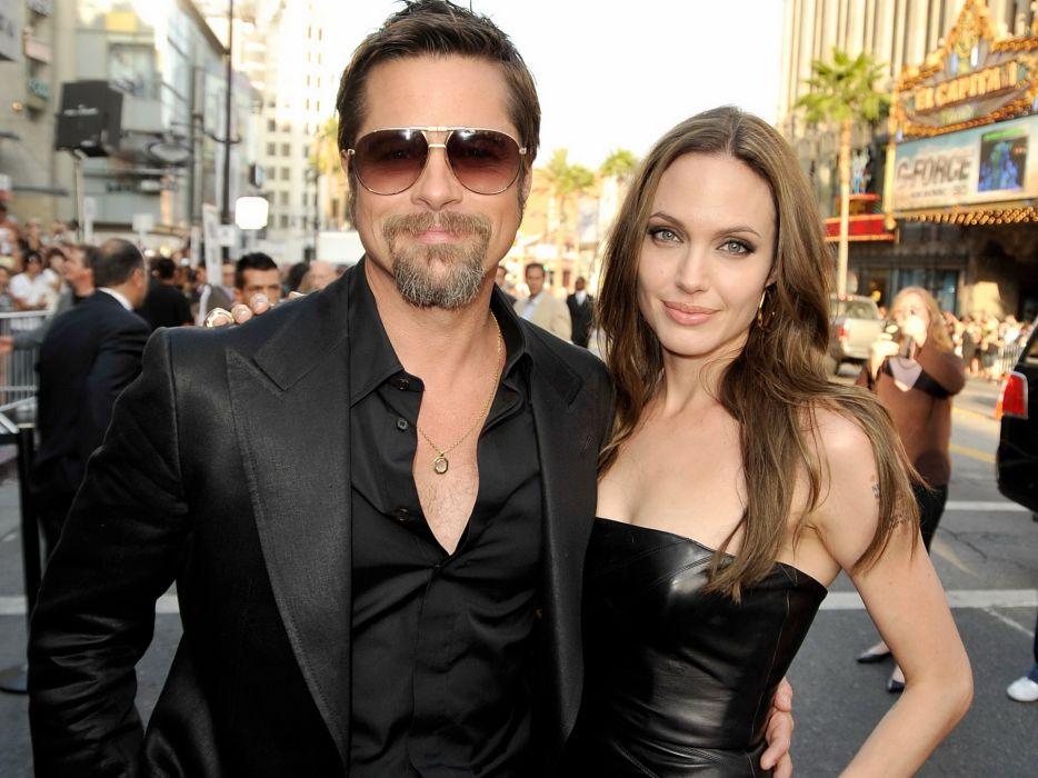 Angelina Jolie Brad Pitt actor actors men male males actress brunette girl girls women female females sunglasses glasses  r wallpaper