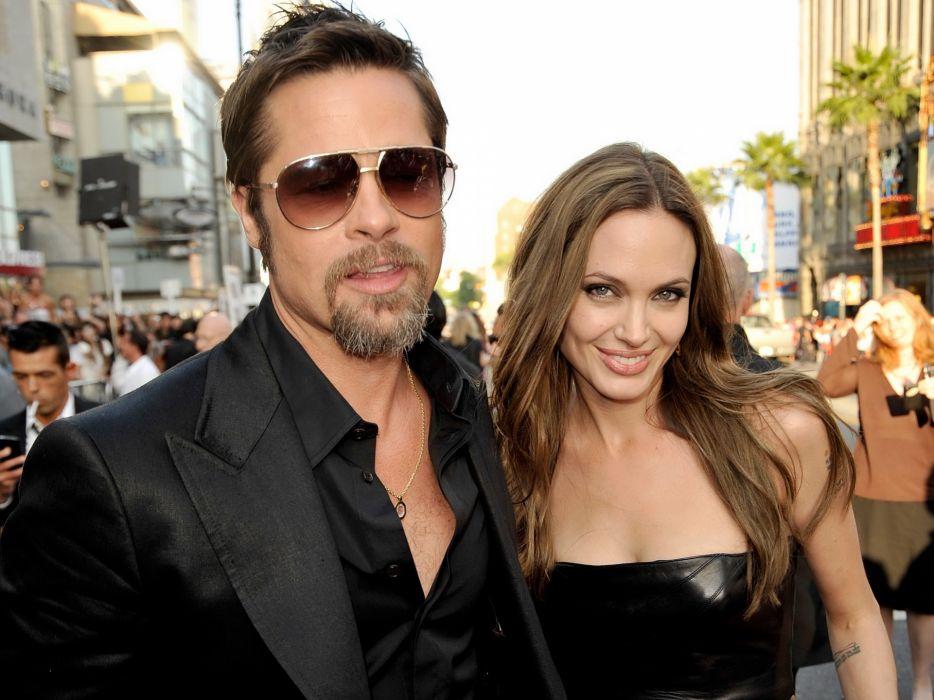 Angelina Jolie Brad Pitt actor actors men male males actress brunette girl girls women female females sunglasses glasses wallpaper