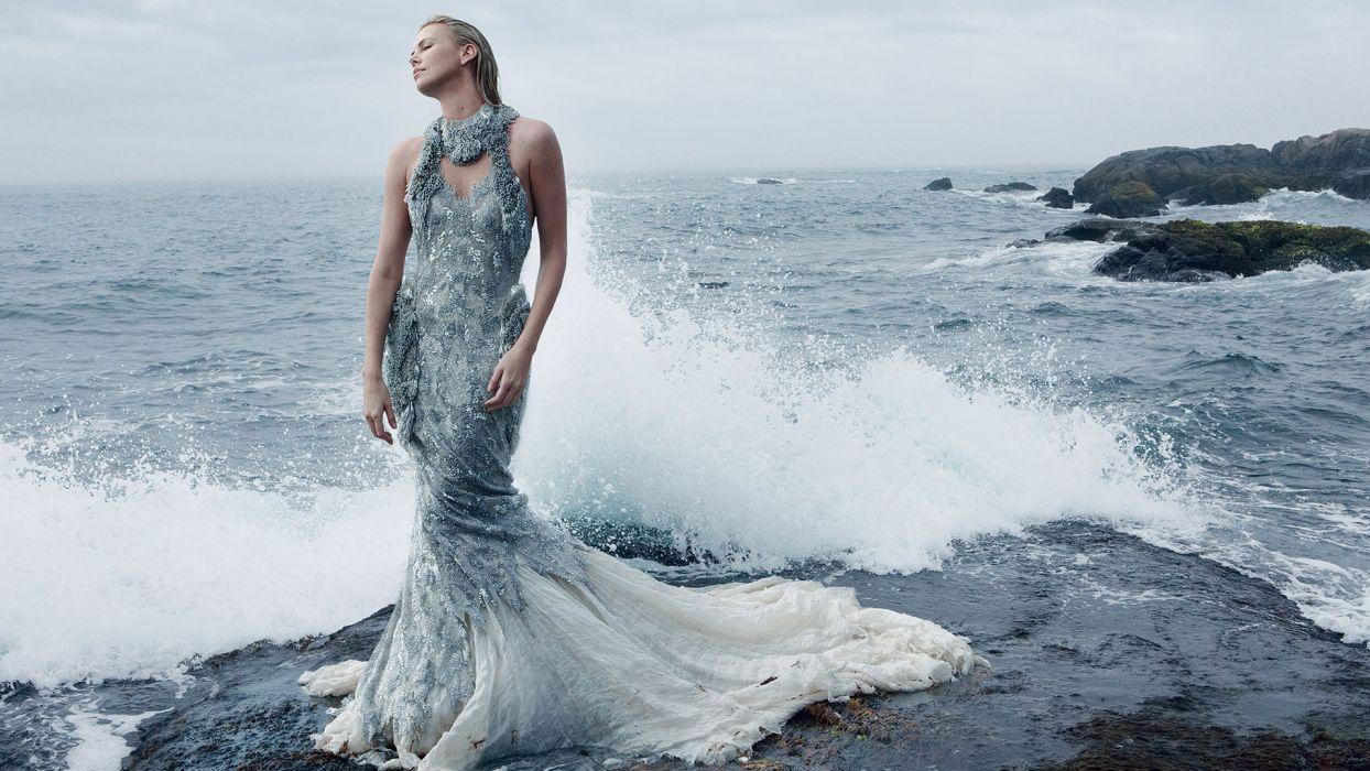 Charlize Theron actress women females female girl girls blonde blondes wave waves ocean sea beach beaches drops wallpaper
