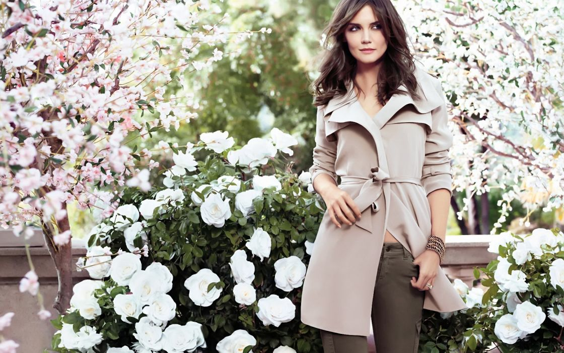 Katie Holmes actress women female females girl girls brunette brunettes flowers flower wallpaper