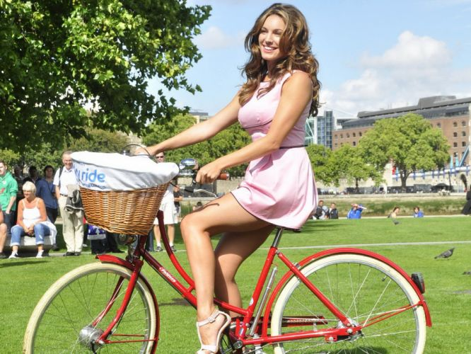 Kelly Brook actress model models women females female girl girls bicycle wallpaper