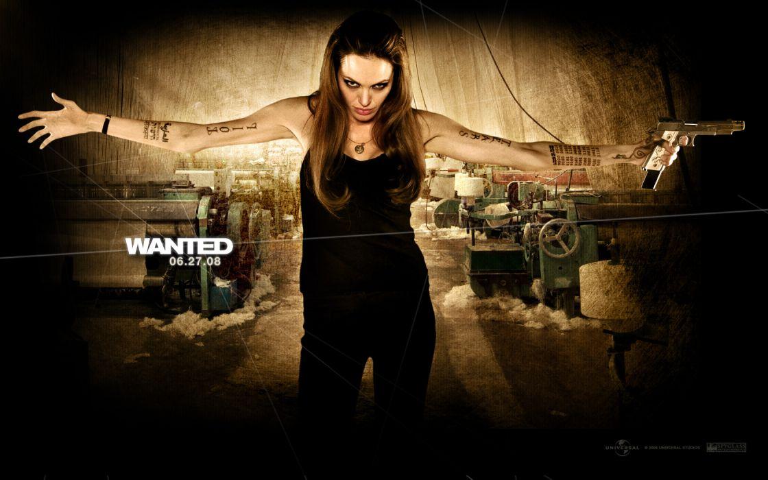 WANTED Angelina Jolie actress brunette girl girls women female females poster posters weapon weapons guns gun pistol wallpaper