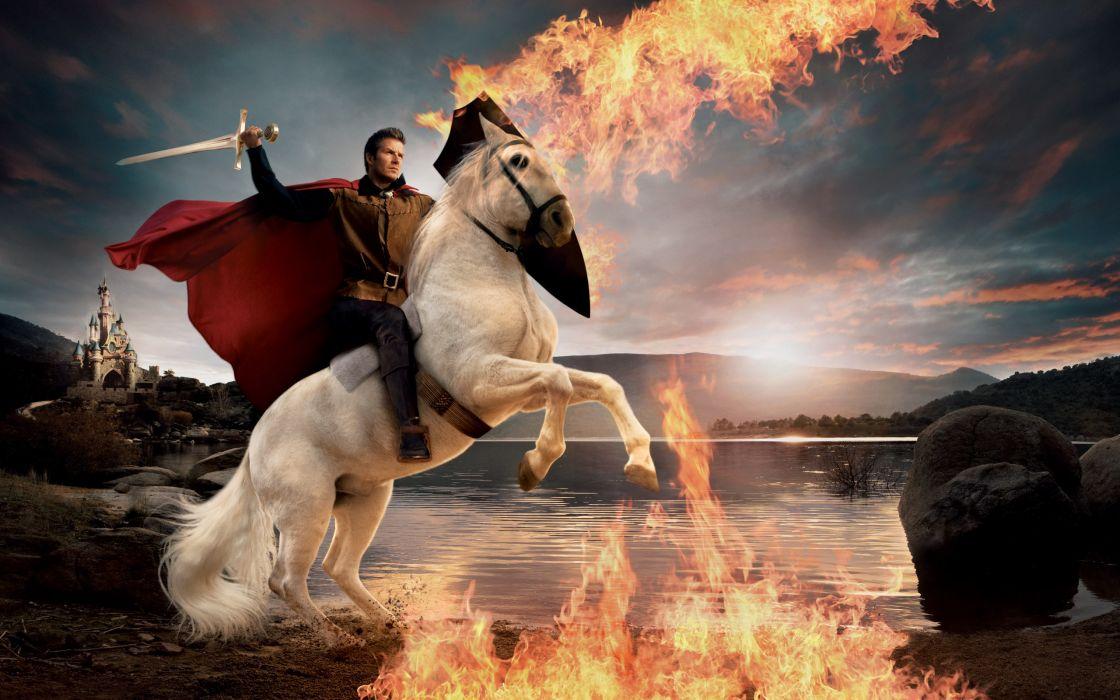David Beckham soccer men male males sports fantasy warrior warriors fire horse horses lake lakes castle knight knights wallpaper
