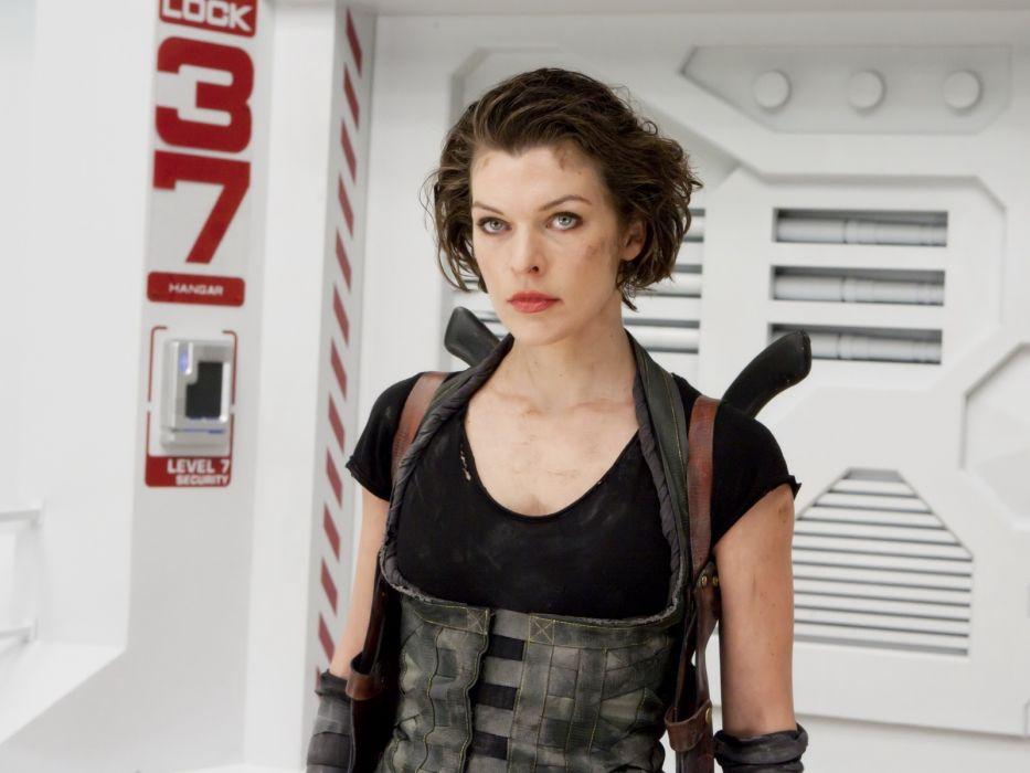 Milla Jovovich actress brunette brunettes women female feamles girl girls resident evil movie movies  n wallpaper