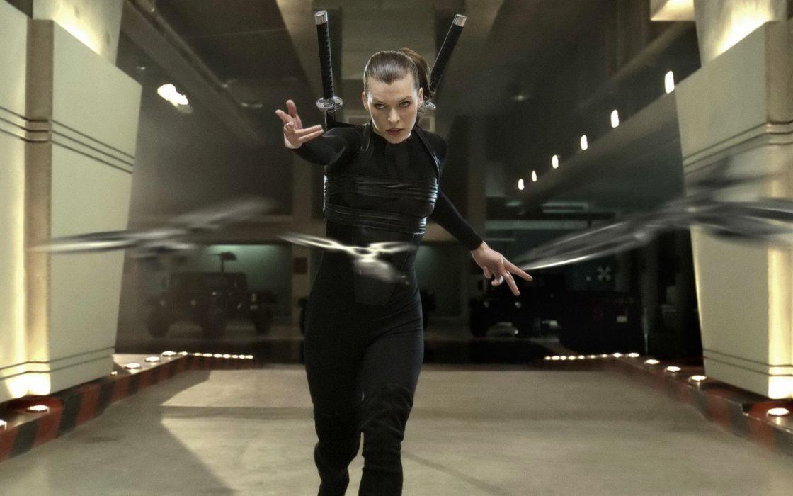 Milla Jovovich actress brunette brunettes women female feamles girl girls resident evil movie movies  r wallpaper